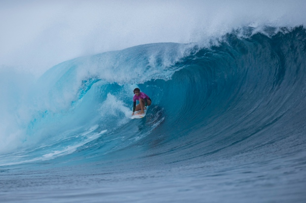 Sally Fitzgibbons of Gerroa, NSW, Australia (pictured) winning the Fiji Womens Pro, defeating South African Bianca Buitendag in eight-to-ten foot Cloudbreak on Thursday June 4, 2015. Fitzgibbons surfed with her ear bandaged after bursting her eardrum during Round 2.